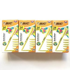 Bic Highlighter Pen Yellow New Pack Brite Liner By